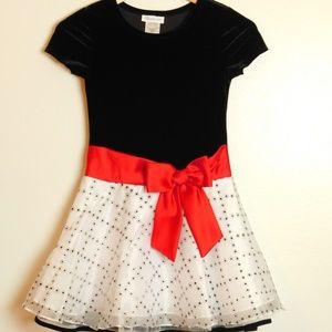 Bonnie Jean Velvet Organza Dress Black White Siz 8